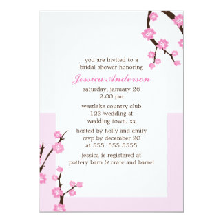 Pink Cherry Blossoms 5x7 Paper Invitation Card