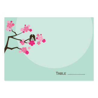 Pink Cherry Blossoms Love Bird Wedding Place Card Large Business Card