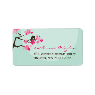 Pink Cherry Blossoms Love Birds Wedding Labels