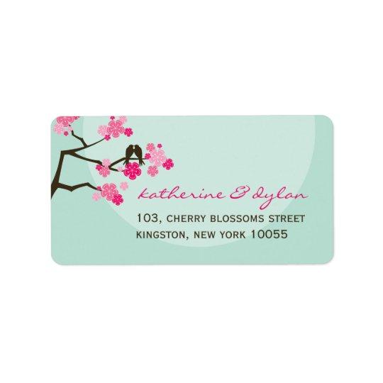 Pink Cherry Blossoms Love Birds Wedding Labels