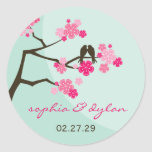 Pink Cherry Blossoms Love Birds Wedding Stickers