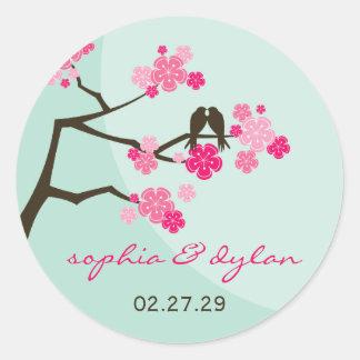 Pink Cherry Blossoms Love Birds Wedding Stickers