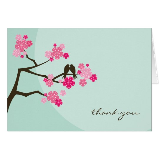 Pink Cherry Blossoms Love Birds Wedding Thank You Card