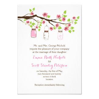 Pink cherry blossoms & mason jars spring wedding card