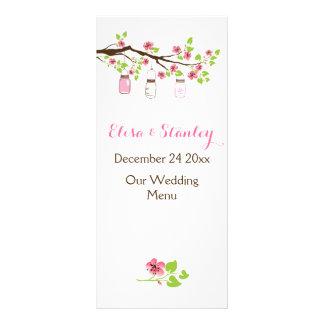 Pink cherry blossoms, mason jars wedding menu card