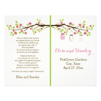 Pink cherry blossoms, mason jars wedding program