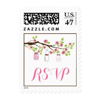 Pink cherry blossoms & mason jars wedding RSVP Postage