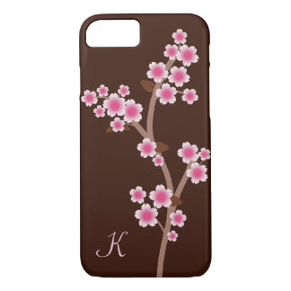 Pink Cherry Blossoms Monogram iPhone 7 Case