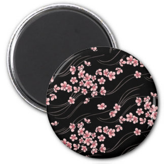 Pink Cherry Blossoms on Black 2 Inch Round Magnet