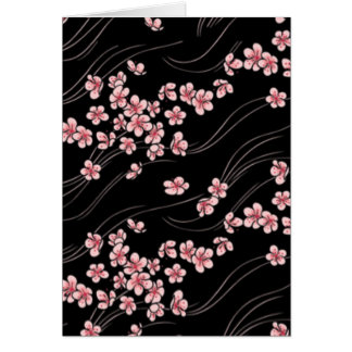 Pink Cherry Blossoms on Black Card