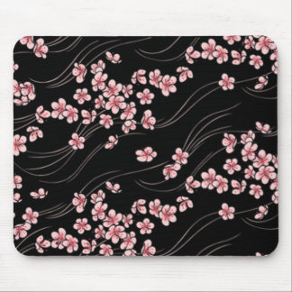 Pink Cherry Blossoms on Black Mouse Pad