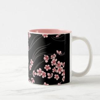 Pink Cherry Blossoms on Black Two-Tone Coffee Mug