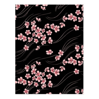 Pink Cherry Blossoms on Black Postcard