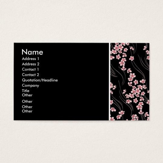 Pink Cherry Blossoms on Black Profile Card