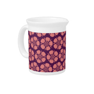 Pink Cherry Blossoms on Purple Beverage Pitcher