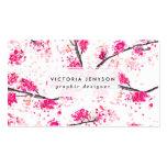 Pink cherry blossoms Oriental Sakura watercolor Business Card