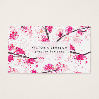 Pink cherry blossoms Oriental Sakura watercolor Business Card