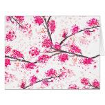 Pink cherry blossoms Oriental Sakura watercolor Card