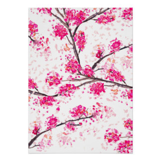 Pink cherry blossoms Oriental Sakura watercolor Poster