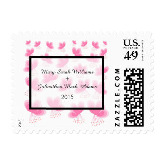 Pink Cherry Blossoms Pattern Wedding Postage