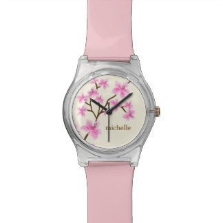 Pink Cherry Blossoms Personalized Wristwatch