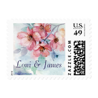 Pink Cherry Blossoms Postage Stamp