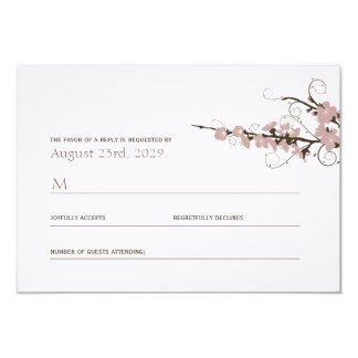 Pink Cherry Blossoms Sakura Swirls Wedding RSVP Card