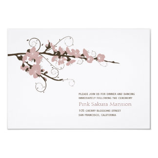 Pink Cherry Blossoms Sakura Wedding Reception Card