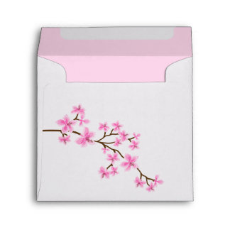 Pink Cherry Blossoms Save the Date Envelope