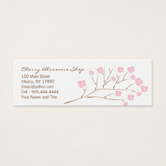 Pink Cherry Blossoms Skinny Mini Business Card