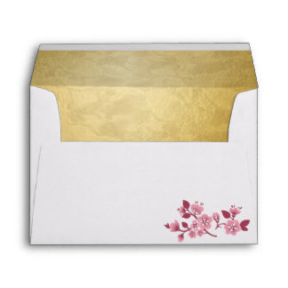 Pink Cherry Blossoms - Spring Wed. Invite  Env 1B Envelope
