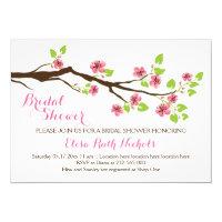 Pink cherry blossoms spring wedding bridal shower card