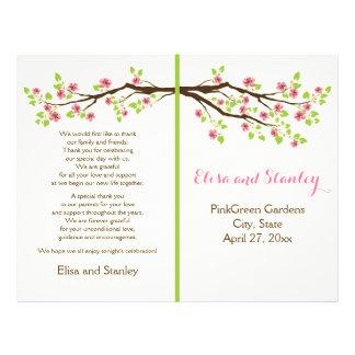 Pink cherry blossoms spring wedding program