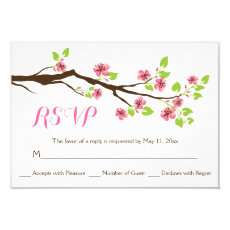Pink cherry blossoms spring wedding RSVP 3.5