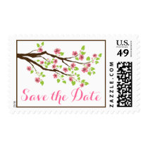 Pink cherry blossoms spring wedding Save the Date Postage