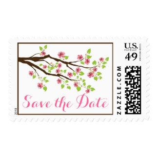 Pink cherry blossoms spring wedding Save the Date Postage Stamp