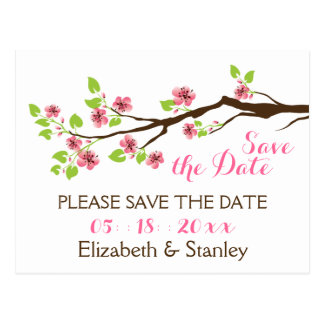 Pink cherry blossoms spring wedding Save the Date Post Card
