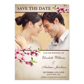 Pink Cherry Blossoms Tan Photo Save the Date Card