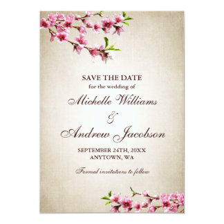 Pink Cherry Blossoms Tan Wedding Save the Date 5x7 Paper Invitation Card