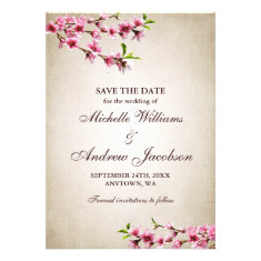 Pink Cherry Blossoms Tan Wedding Save the Date Personalized Invite