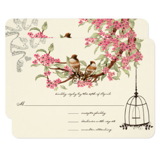 Pink Cherry Blossoms Teal Birds Birdcage RSVP Card