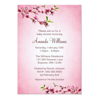Pink Cherry Blossoms Vintage Baby Shower Card