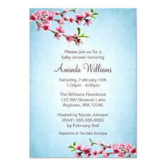 Pink Cherry Blossoms Vintage Blue Baby Shower 5x7 Paper Invitation Card