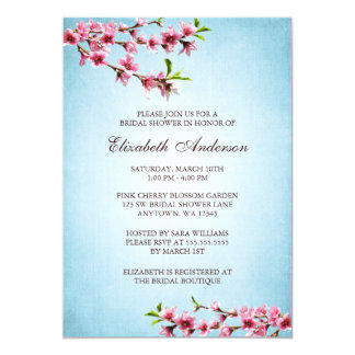 Pink Cherry Blossoms Vintage Blue Bridal Shower Card