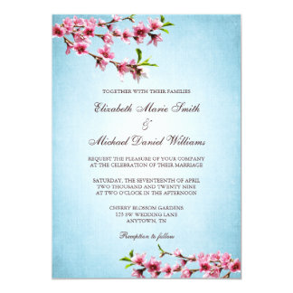 Pink Cherry Blossoms Vintage Blue Wedding Personalized Invitations