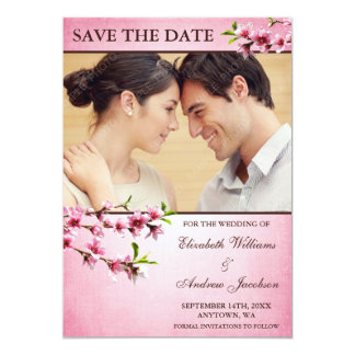 Pink Cherry Blossoms Vintage Photo Save the Date 5x7 Paper Invitation Card