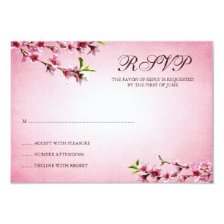 Pink Cherry Blossoms Vintage Response Card Announcement