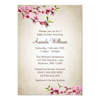 Pink Cherry Blossoms Vintage Tan Baby Shower 5x7 Paper Invitation Card
