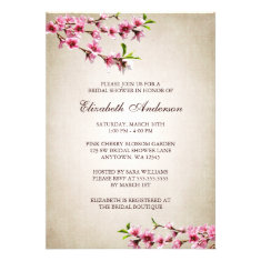 Pink Cherry Blossoms Vintage Tan Bridal Shower Invitations