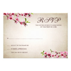 Pink Cherry Blossoms Vintage Tan Response Card Announcement